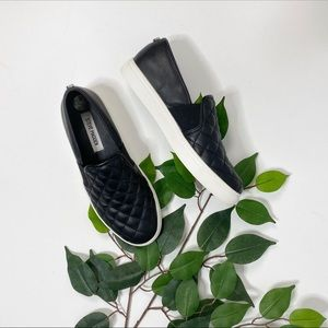 Steve Madden Black Quilted Leather Comfy Sneakers